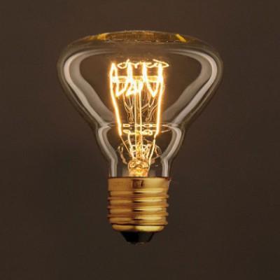 Lâmpada Vintage Dourada BR95 Filamento de Carbono Espiral Curvo Horizontal 25W E27 Dimável 2000K