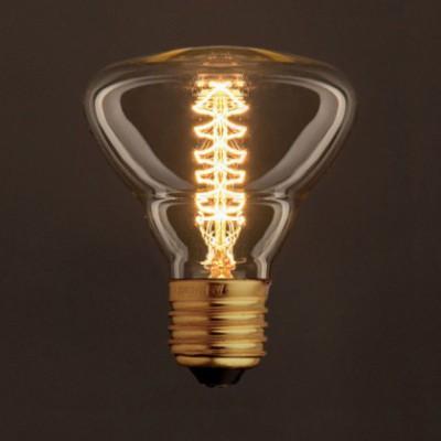 Lâmpada Vintage Dourada BR95 Filamento de Carbono Espiral Duplo Curvo 25W E27 Dimável 2000K