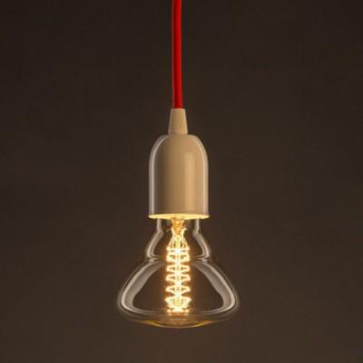 Lâmpada Vintage Dourada BR95 Filamento de Carbono Espiral Duplo Curvo 30W E27 Dimável 2000K