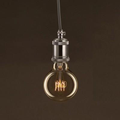 Lâmpada Vintage Dourada Globo G80 Filamento de Carbono Espiral Curvo 25W E27 Dimável 2000K