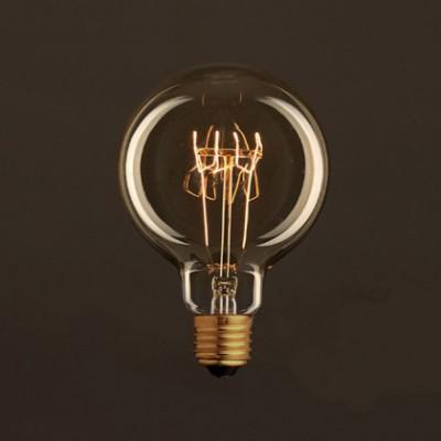 Lâmpada Vintage Dourado Globo G95 Filamento de Carbono Espiral Curvo 30W E27 Dimável 2000K