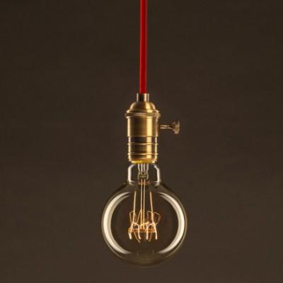 Lâmpada Vintage Dourado Globo G95 Filamento de Carbono Espiral Curvo 25W E27 Dimável 2000K