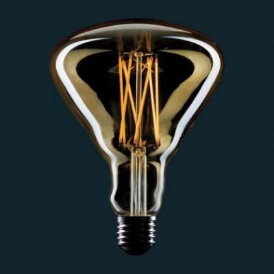 Lâmpada LED Dourada BR125 Filamento tipo Gaiola 4W E27 Dimável 2000K