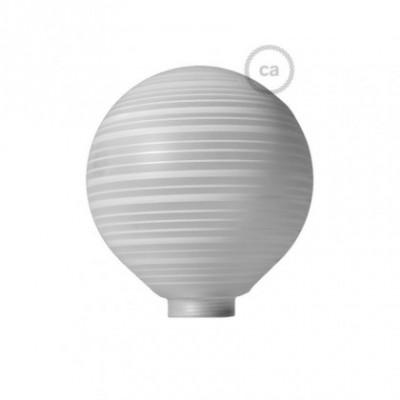 Vidro decorativo para lâmpada modular G125 Branco com Linhas Horizontais