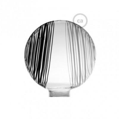 Vidro decorativo para lâmpada modular G125 Branco com circulos brancos e pretos