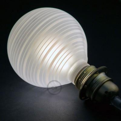 Lâmpada Decorativa Modular LED G125 com vidro Branco com linhas Horizontais 5W E27 Dimável 2700K