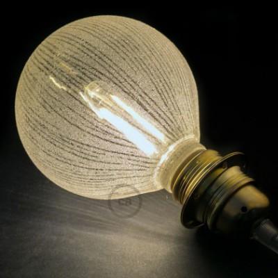 Lâmpada Decorativa Modular LED G125 com vidro Branco com linhas Verticais 5W E27 Dimável 2700K