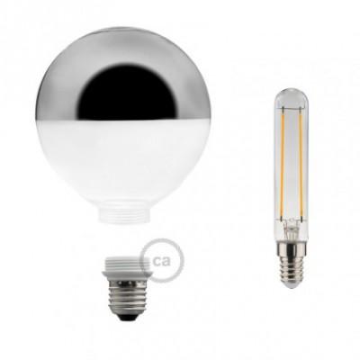 Lâmpada Decorativa Modular LED G125 com vidro Semiesfera Prateado 5W E27 Dimável 2700K