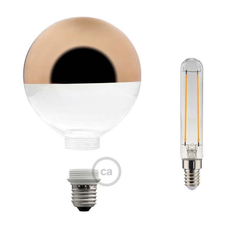 Lâmpada Decorativa Modular LED G125 com vidro Semiesfera Cobre 5W E27 Dimável 2700K
