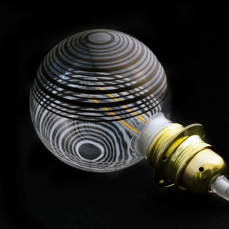 Lâmpada Decorativa Modular LED G125 com vidro Branco com circulos brancos e pretos 5W E27 Dimável 2700K