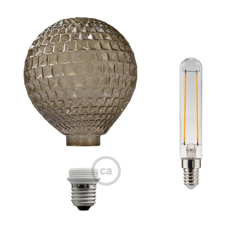 Lâmpada Decorativa Modular LED G125 com vidro Diamante Fumado 5W E27 Dimável 2700K