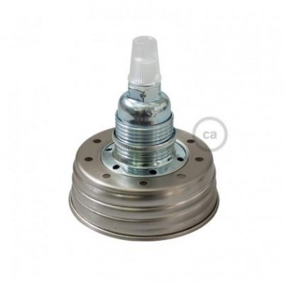 Kit de iluminação Frasco de compota revestido a Zinco com retentor de cabos cónico e suporte de lâmpada de metal Cromado E14