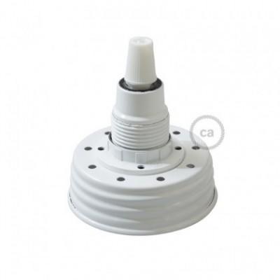 Kit de iluminação Frasco de compota Branco com retentor de cabo cónico e suporte de lâmpada baquelite Branco E14