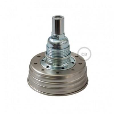 Kit de iluminação Frasco de compota revestido a Zinco com retentor de cabo cilindrico e suporte de lâmpada de metal Cromado E14