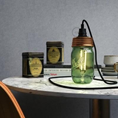 Kit de iluminação Frasco de compota Bronze com retentor de cabo cilindrico e suporte de lâmpada baquelite Preto E14