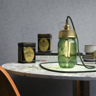 Kit de iluminação tampa de frasco Dourado com retentor de cabo cilindrico e suporte de lâmpada de latão metalizado E14