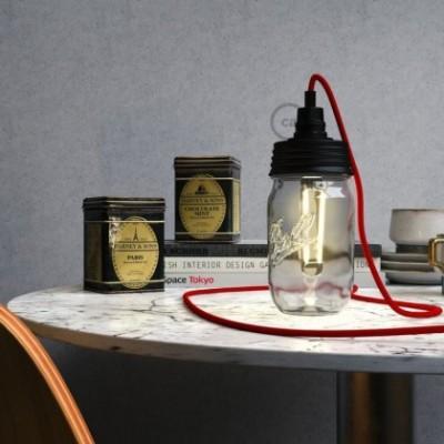 Kit de iluminação Frasco de compota Preto com retentor de cabo cilindrico e suporte de lâmpada baquelite Preto E14