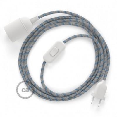 SnakeBis fixação com casquilho e cabo em tecido - Algodão e Linho Natural Riscas Azul Steward RD55