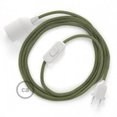 SnakeBis fixação com casquilho e cabo em tecido - Algodão e Linho Natural Riscas Verde Tomilho RD72