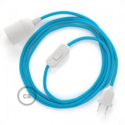 SnakeBis fixação com casquilho e cabo em tecido - Seda Artificial Turquesa RM11