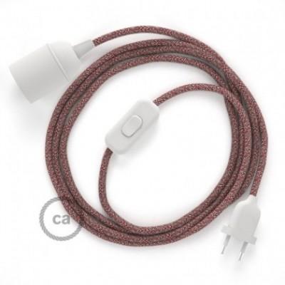 SnakeBis fixação com casquilho e cabo em tecido - Algodão e Linho Natural Vermelho RS83