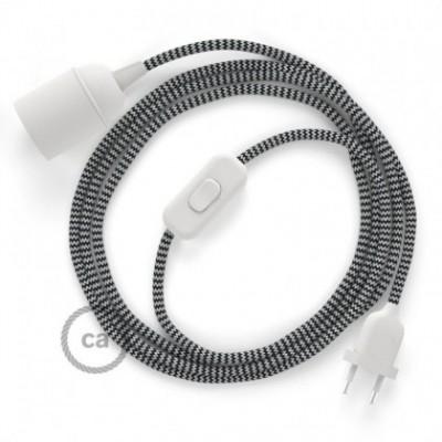SnakeBis fixação com casquilho e cabo em tecido - Seda Artificial ZigZag Preto RZ04