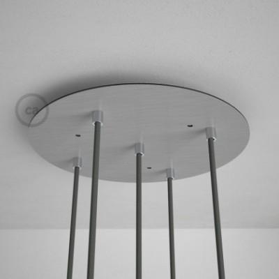 Rosácea Redonda XXL aço acetinado, 35 cm com 5 furos + Acessórios