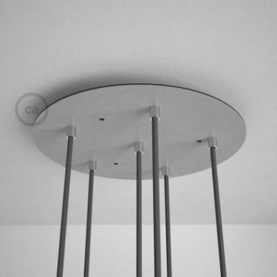 Rosácea Redonda XXL aço acetinado, 35 cm com 6 furos + Acessórios