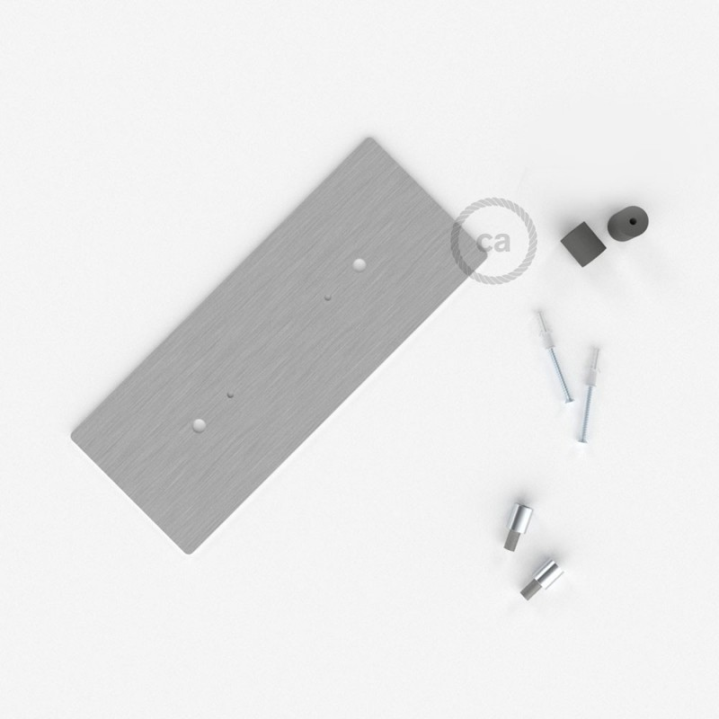 Rosácea Retangular XXL aço acetinado, 30x12 cm com 2 furos + Acessórios