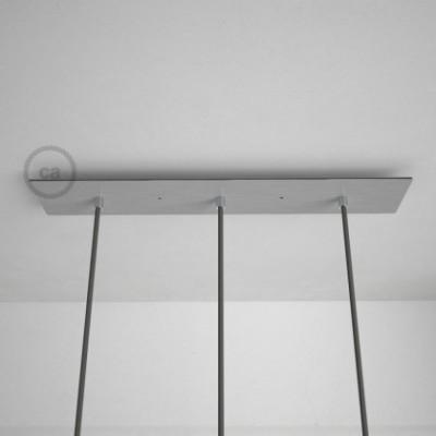 Rosácea Retangular XXL aço acetinado, 60x12 cm com 3 furos + Acessórios