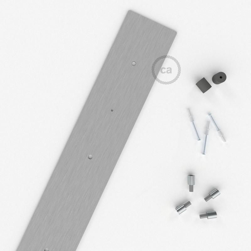 Rosácea Retangular XXL aço acetinado, 90x12 cm com 4 furos + Acessórios
