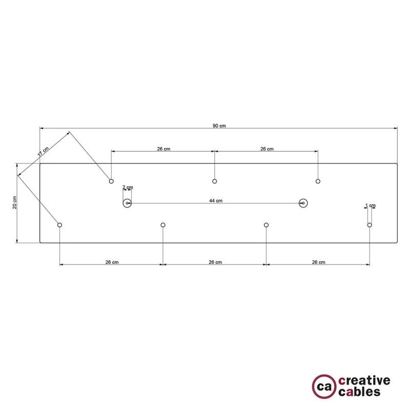 Rosácea Retangular XXL aço acetinado, 90x20 cm com 7 furos + Acessórios