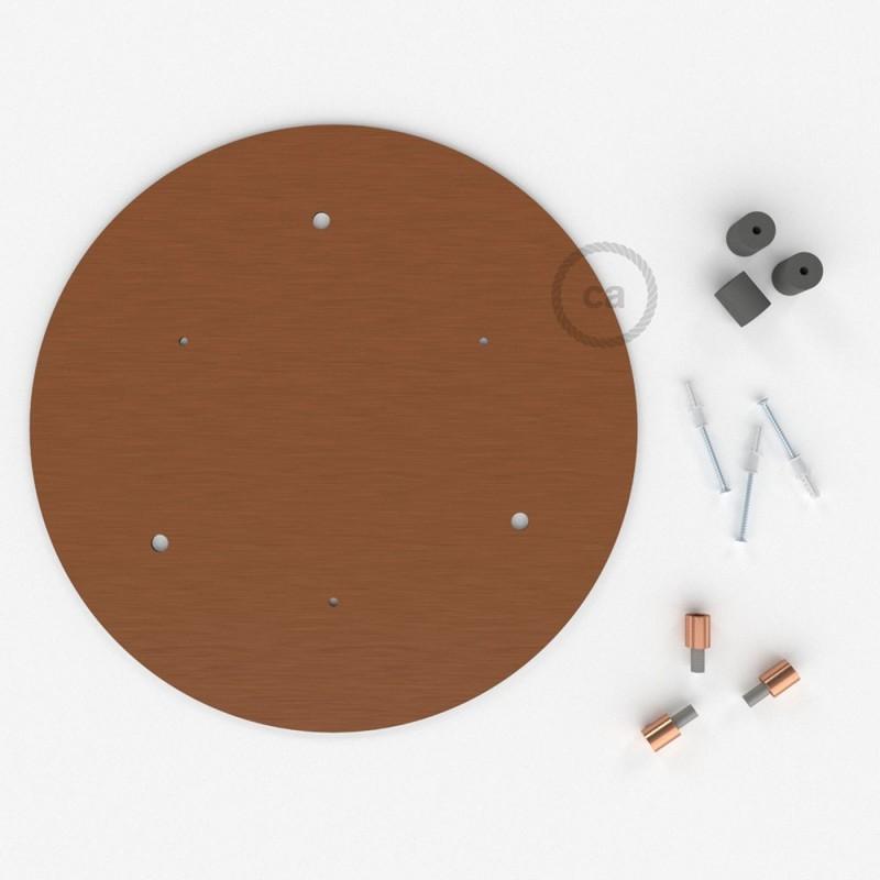 Rosácea Redonda XXL cobre acetinado, 35 cm com 3 furos + Acessórios