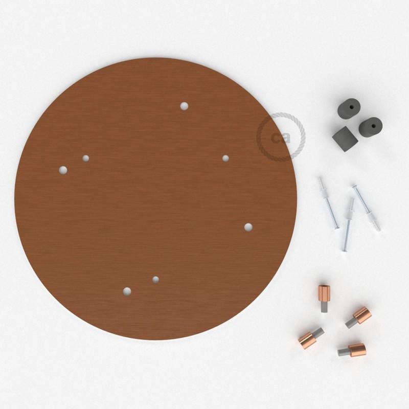 Rosácea Redonda XXL cobre acetinado, 35 cm com 4 furos + Acessórios