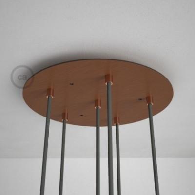 Rosácea Redonda XXL cobre acetinado, 35 cm com 6 furos + Acessórios