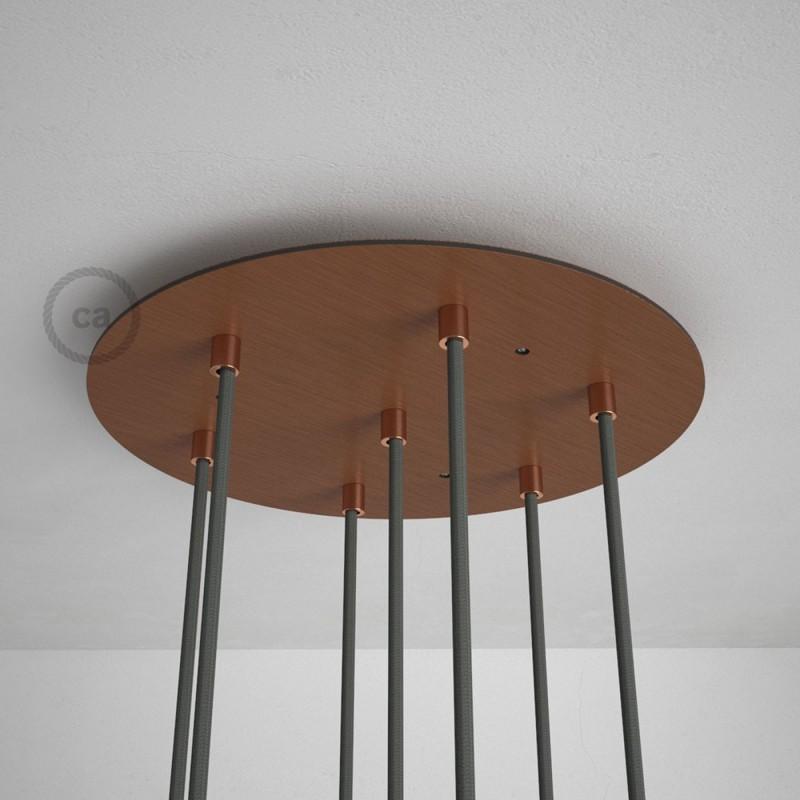 Rosácea Redonda XXL cobre acetinado, 35 cm com 7 furos + Acessórios
