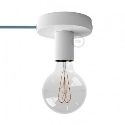 Spostaluce, a fonte de luz de metal branco com furos laterais e cabo de tecido