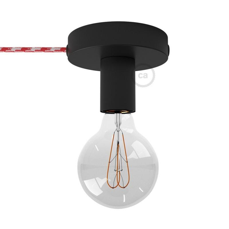 Spostaluce, a fonte de luz de metal preto com furos laterais e cabo de tecido