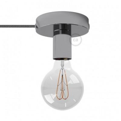 Spostaluce, a fonte de luz de metal cromado com furos laterais e cabo de tecido