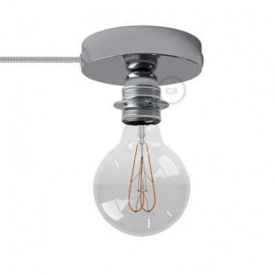 Spostaluce, a fonte de luz de metal cromado com casquilho E27 roscado, com furos laterais e cabo de tecido