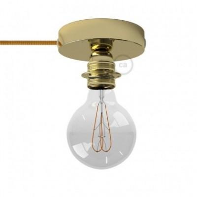 Spostaluce, a fonte de luz de metal latão com casquilho E27 roscado, com furos laterais e cabo de tecido