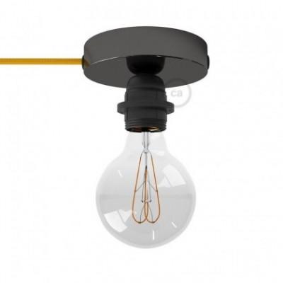 Spostaluce, a fonte de luz de metal preto pérola com casquilho E27 roscado, com furos laterais e cabo de tecido