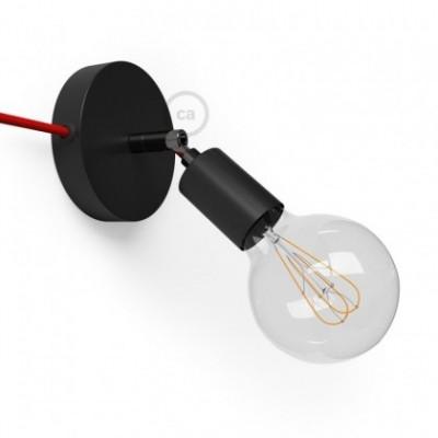 Spostaluce Metallo 90°, a fonte de luz ajustável de metal preto com furos laterais e cabo de tecido