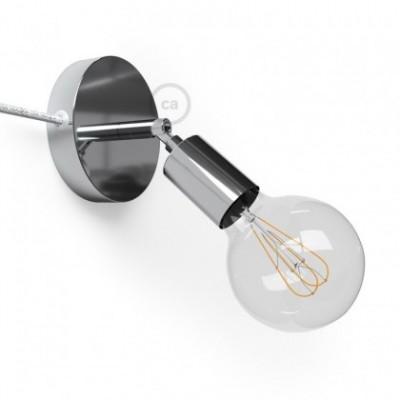 Spostaluce Metallo 90°, a fonte de luz ajustável de metal cromado com furos laterais e cabo de tecido