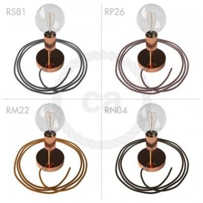 Spostaluce Metallo 90°, a fonte de luz ajustável de metal bronze com furos laterais e cabo de tecido