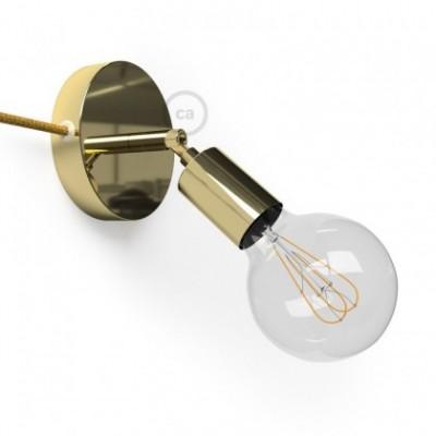 Spostaluce Metallo 90°, a fonte de luz ajustável de metal latão com furos laterais e cabo de tecido