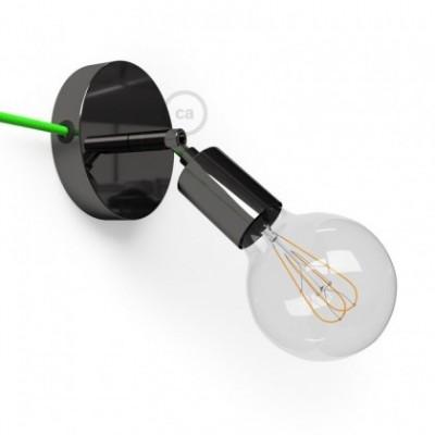 Spostaluce Metallo 90°, a fonte de luz ajustável de metal preto pérola com furos laterais e cabo de tecido