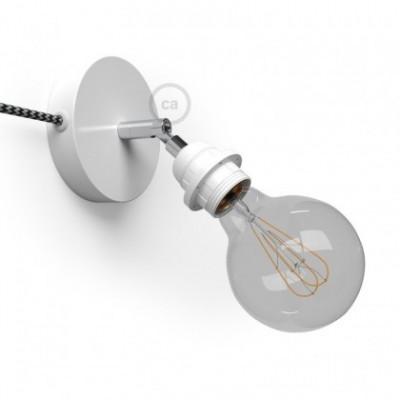 Spostaluce Metallo 90°, a fonte de luz ajustável de metal branco com casquilho E27 roscado, com furos laterais e cabo de tecido