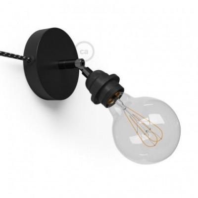 Spostaluce Metallo 90°, a fonte de luz ajustável de metal preto com casquilho E27 roscado, com furos laterais e cabo de tecido
