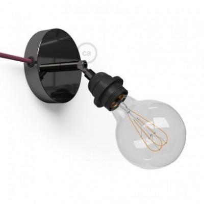 Spostaluce Metallo 90°, a fonte de luz ajustável de metal preto pérola com casquilho E27 roscado, com furos laterais e cabo
